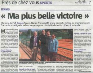ARTICLE NICE MATIN 21 06 2016 NAMIE FRANCOIS